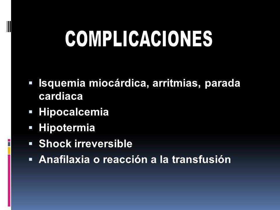 Isquemia miocárdica, arritmias, parada cardiaca Hipocalcemia Hipotermia Shock irreversible Anafilaxia o reacción a la transfusión