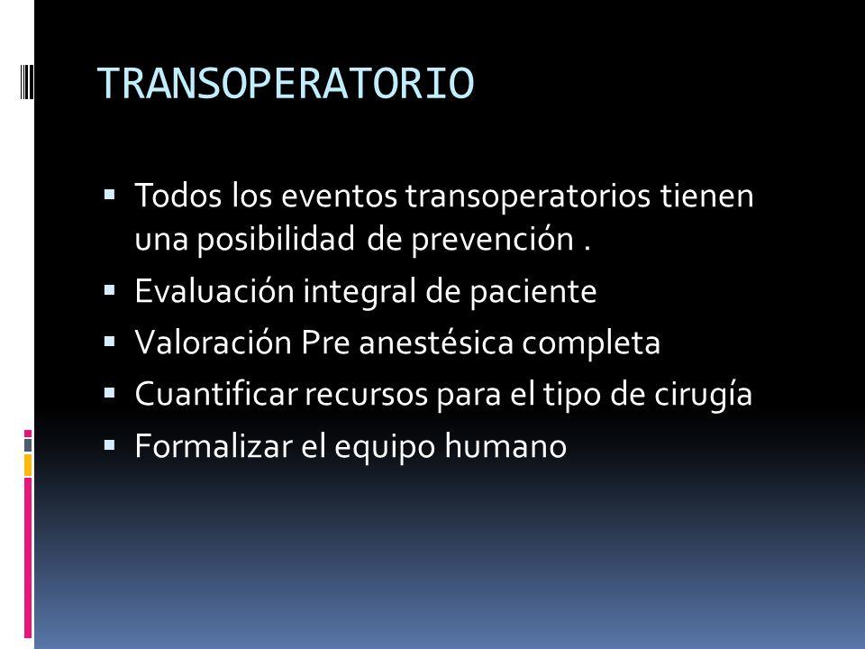 TRANSOPERATORIO Todos los eventos transoperatorios tienen una posibilidad de prevención. Evaluación integral de paciente Valoración Pre anestésica com