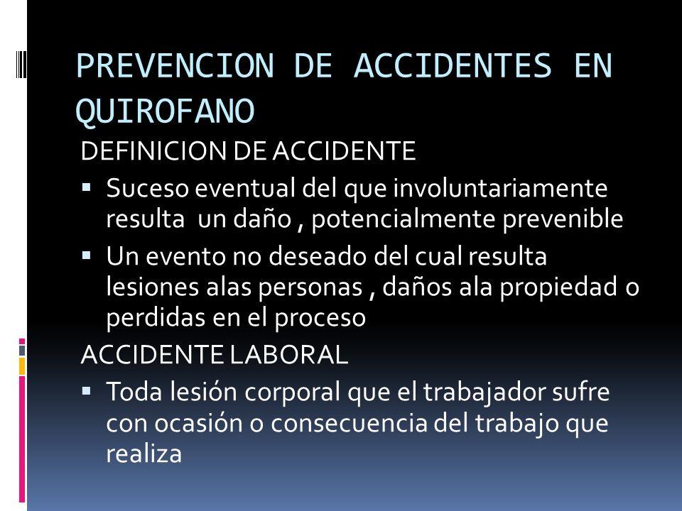 PREVENCION DE ACCIDENTES EN QUIROFANO DEFINICION DE ACCIDENTE Suceso eventual del que involuntariamente resulta un daño, potencialmente prevenible Un
