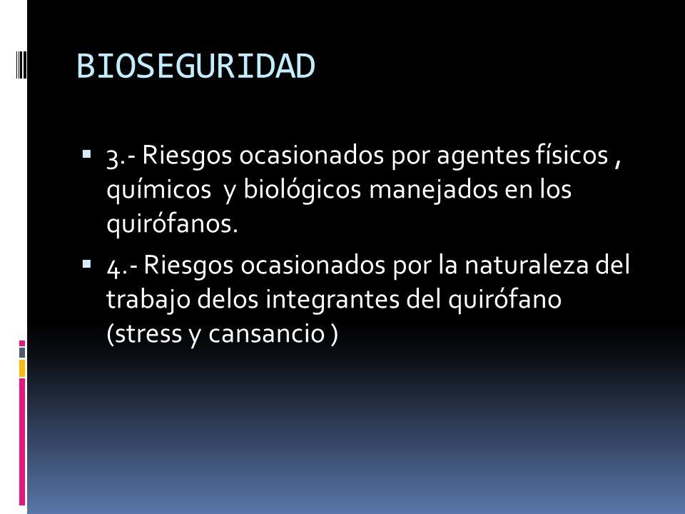 BIOSEGURIDAD 3.- Riesgos ocasionados por agentes físicos, químicos y biológicos manejados en los quirófanos. 4.- Riesgos ocasionados por la naturaleza