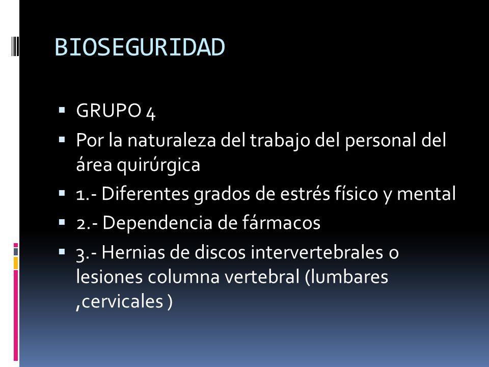 BIOSEGURIDAD GRUPO 4 Por la naturaleza del trabajo del personal del área quirúrgica 1.- Diferentes grados de estrés físico y mental 2.- Dependencia de