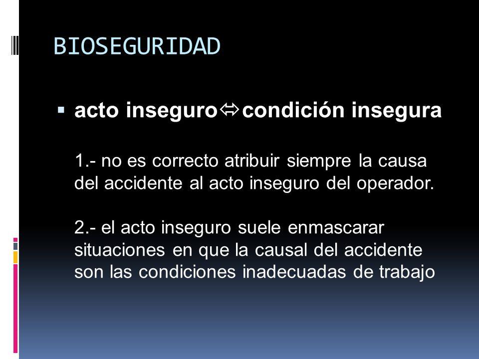 BIOSEGURIDAD acto inseguro condición insegura 1.- no es correcto atribuir siempre la causa del accidente al acto inseguro del operador. 2.- el acto in