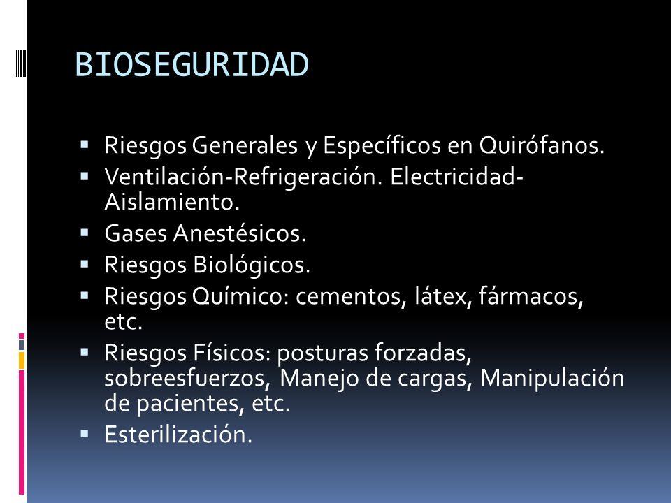 BIOSEGURIDAD Riesgos Generales y Específicos en Quirófanos. Ventilación-Refrigeración. Electricidad- Aislamiento. Gases Anestésicos. Riesgos Biológico