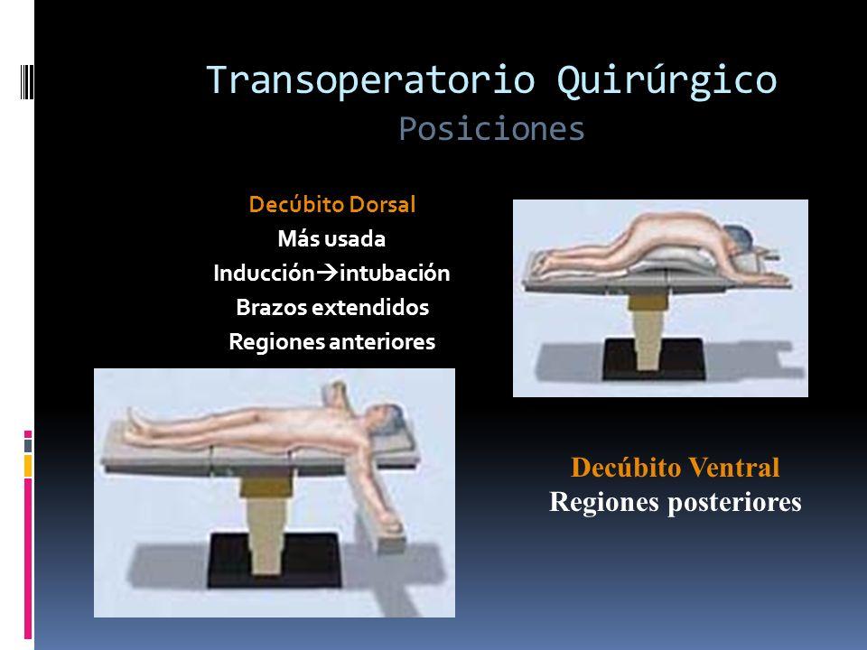 Transoperatorio Quirúrgico Posiciones Decúbito Dorsal Más usada Inducción intubación Brazos extendidos Regiones anteriores Decúbito Ventral Regiones p