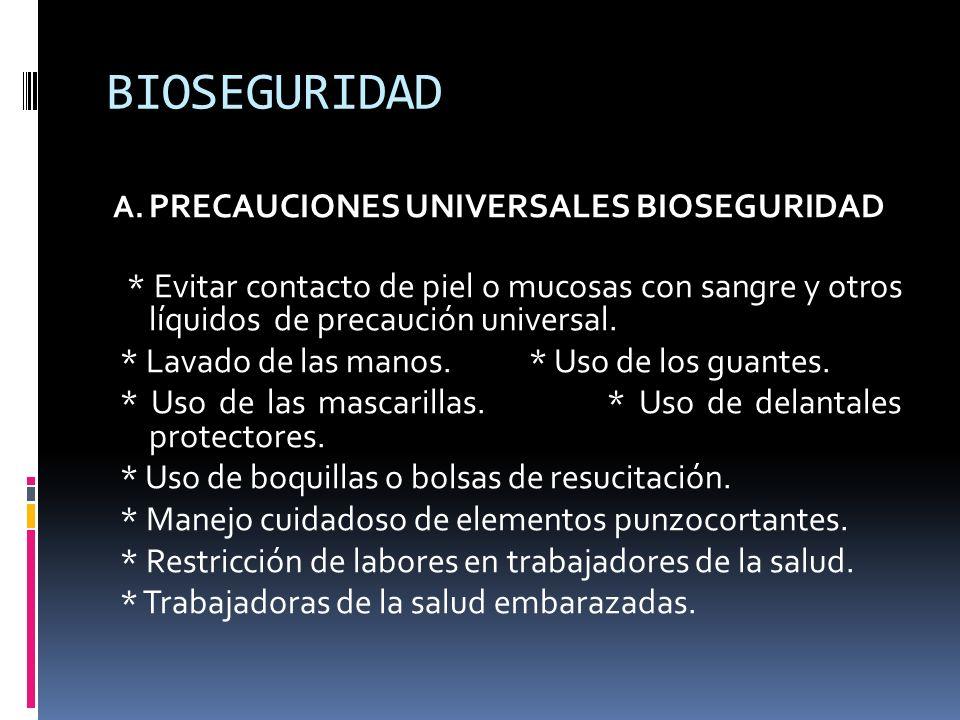 BIOSEGURIDAD A. PRECAUCIONES UNIVERSALES BIOSEGURIDAD * Evitar contacto de piel o mucosas con sangre y otros líquidos de precaución universal. * Lavad
