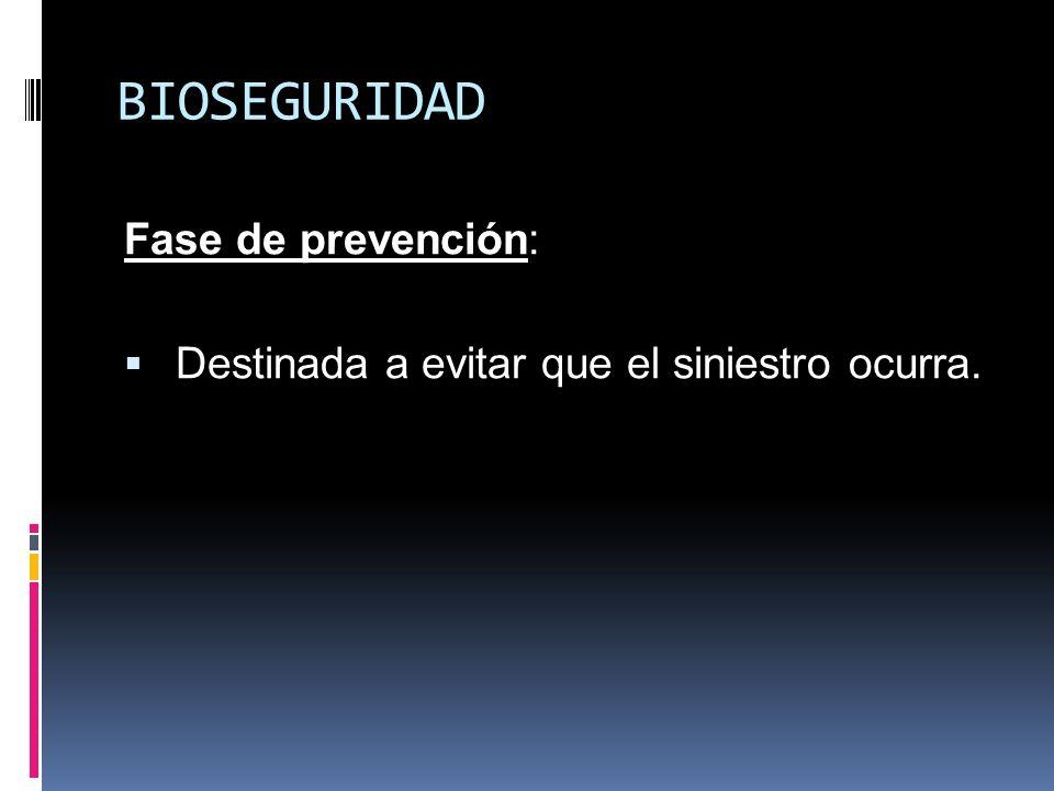 BIOSEGURIDAD Fase de prevención: Destinada a evitar que el siniestro ocurra.