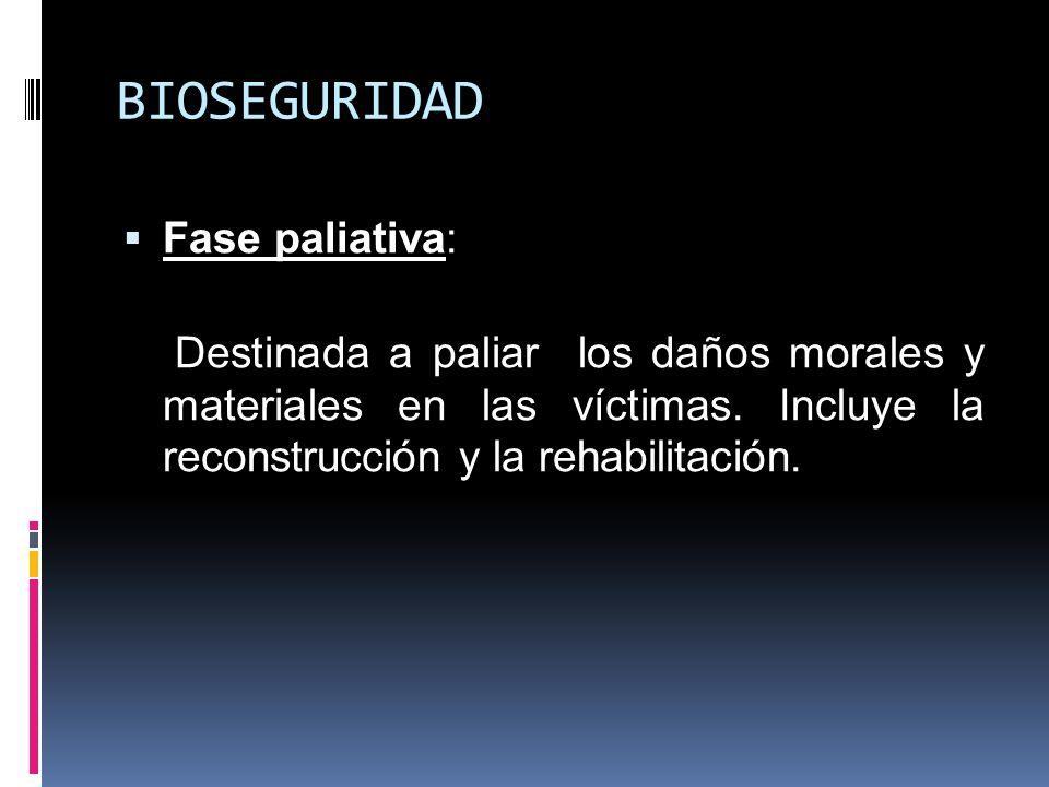 BIOSEGURIDAD Fase paliativa: Destinada a paliar los daños morales y materiales en las víctimas. Incluye la reconstrucción y la rehabilitación.