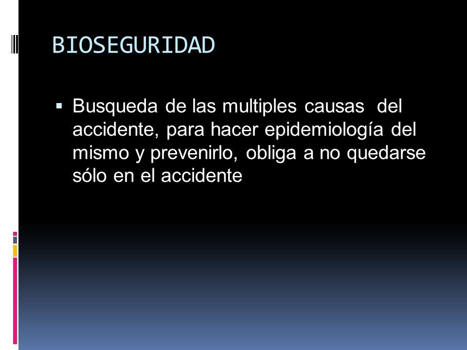 BIOSEGURIDAD Busqueda de las multiples causas del accidente, para hacer epidemiología del mismo y prevenirlo, obliga a no quedarse sólo en el accident