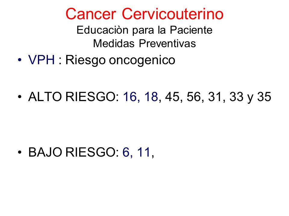 Cancer Cervicouterino Educaciòn para la Paciente Medidas Preventivas VPH : Riesgo oncogenico ALTO RIESGO: 16, 18, 45, 56, 31, 33 y 35 BAJO RIESGO: 6,