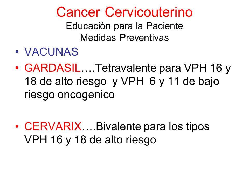 Cancer Cervicouterino Educaciòn para la Paciente Medidas Preventivas VACUNAS GARDASIL….Tetravalente para VPH 16 y 18 de alto riesgo y VPH 6 y 11 de ba