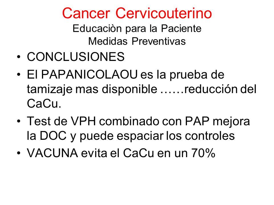 Cancer Cervicouterino Educaciòn para la Paciente Medidas Preventivas CONCLUSIONES El PAPANICOLAOU es la prueba de tamizaje mas disponible ……reducción