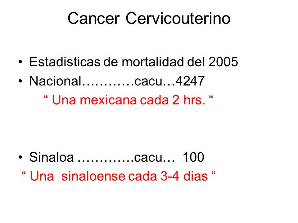 Cancer cervicouterino Mortalidad Nacional 1990……………………4,234 1992……………………4,319 1994……………………4,333 1996……………………4,497 1998……………………4,533 2000……………………4,601 2002……………………4,301 2005……………………4,247 Tasa de 24.9 a 15.4 por 100 000 de 25 ó mas
