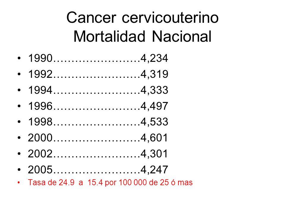 Cancer cervicouterino Mortalidad Nacional 1990……………………4,234 1992……………………4,319 1994……………………4,333 1996……………………4,497 1998……………………4,533 2000……………………4,601