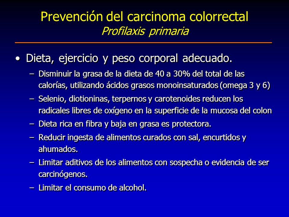 Prevención del carcinoma colorrectal Profilaxis primaria Dieta, ejercicio y peso corporal adecuado. –Disminuir la grasa de la dieta de 40 a 30% del to