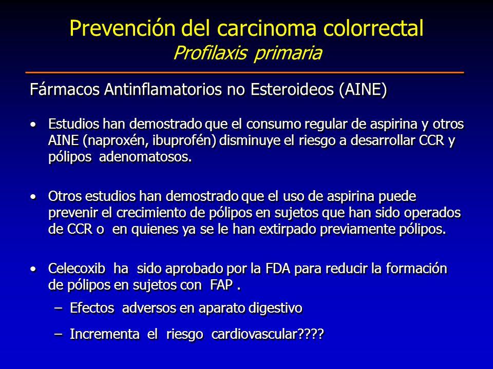 Fármacos Antinflamatorios no Esteroideos (AINE) Estudios han demostrado que el consumo regular de aspirina y otros AINE (naproxén, ibuprofén) disminuy