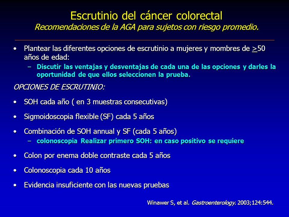 Escrutinio del cáncer colorectal Recomendaciones de la AGA para sujetos con riesgo promedio. Plantear las diferentes opciones de escrutinio a mujeres