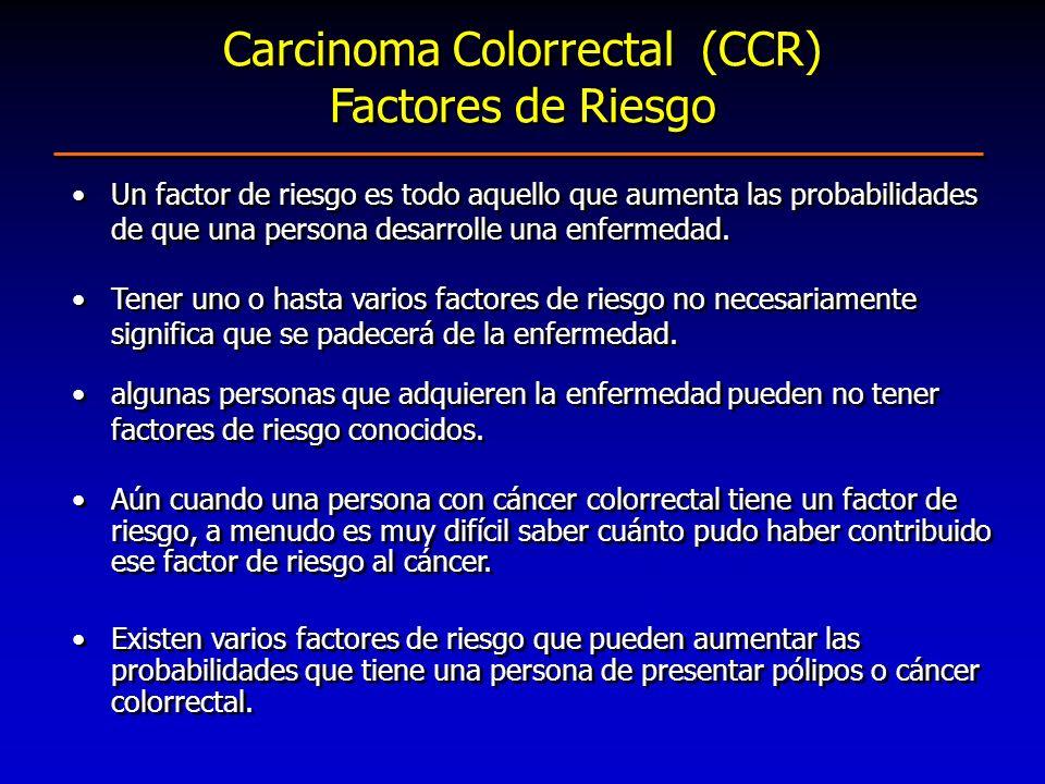 Carcinoma Colorrectal (CCR) Factores de Riesgo Un factor de riesgo es todo aquello que aumenta las probabilidades de que una persona desarrolle una en