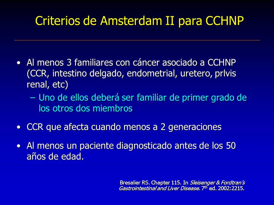 Criterios de Amsterdam II para CCHNP Al menos 3 familiares con cáncer asociado a CCHNP (CCR, intestino delgado, endometrial, uretero, prlvis renal, et