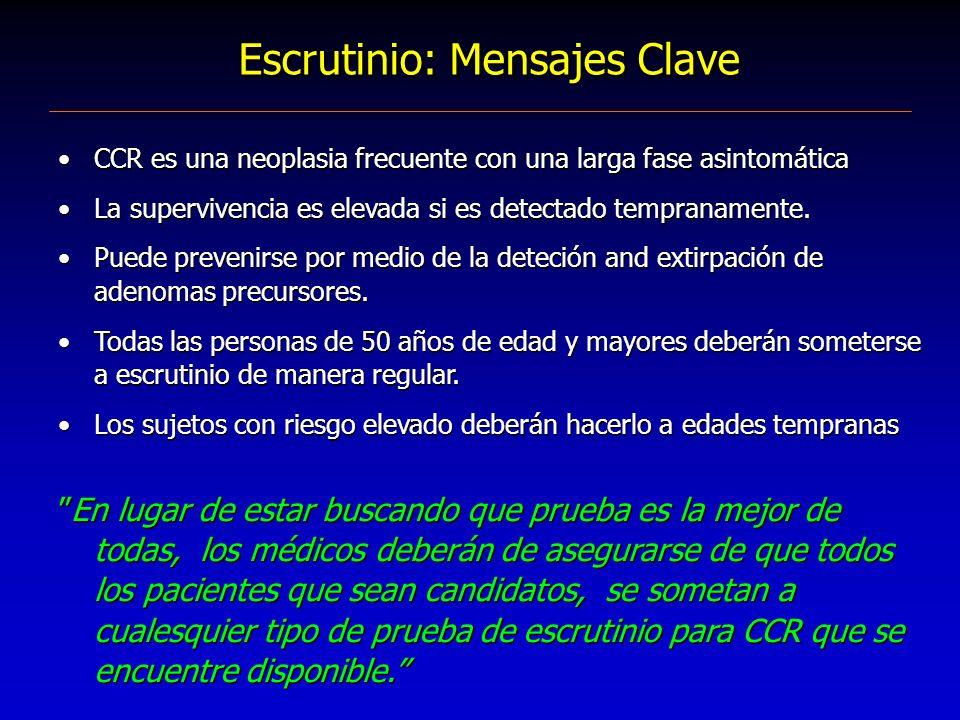 Escrutinio: Mensajes Clave CCR es una neoplasia frecuente con una larga fase asintomática La supervivencia es elevada si es detectado tempranamente. P
