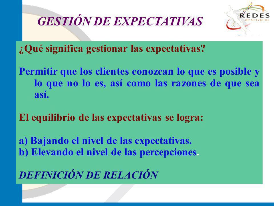 jantoniomar@hsoo.com ¿Qué significa gestionar las expectativas? Permitir que los clientes conozcan lo que es posible y lo que no lo es, así como las r