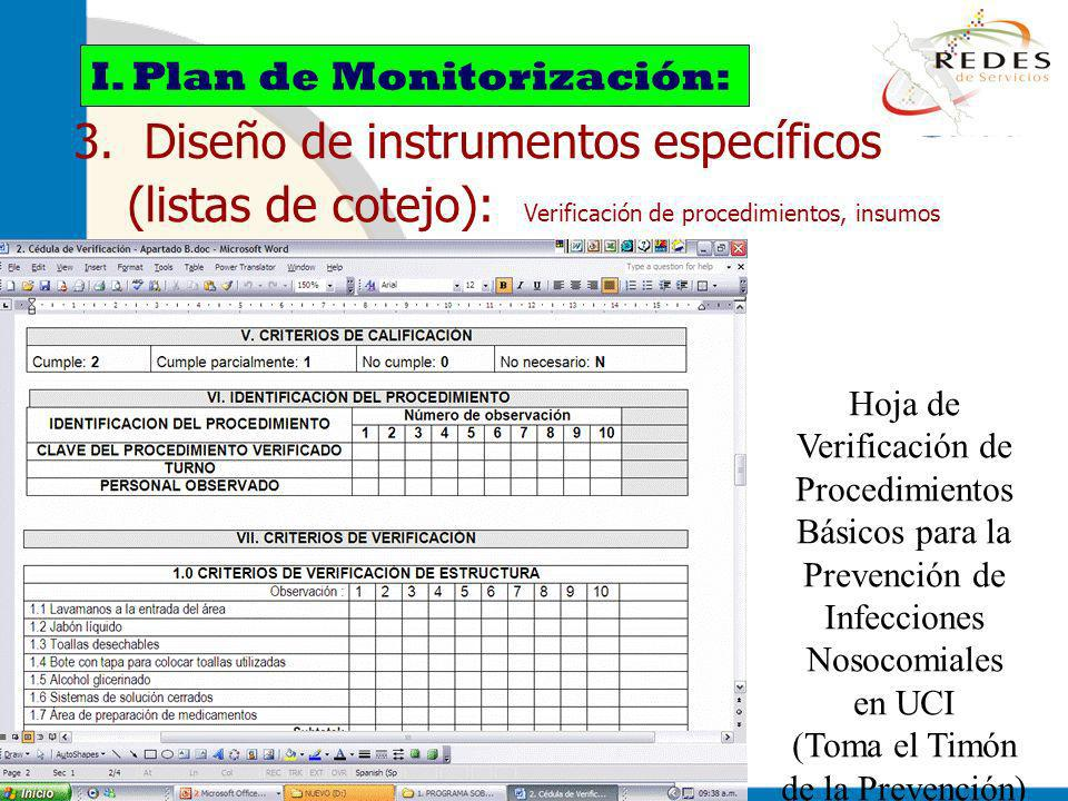 jantoniomar@hsoo.com 3. Diseño de instrumentos específicos (listas de cotejo): Verificación de procedimientos, insumos I. Plan de Monitorización: Hoja