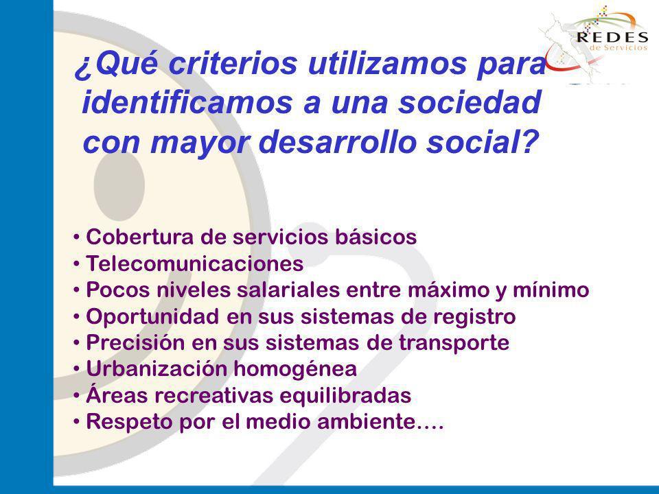 jantoniomar@hsoo.com ¿Qué criterios utilizamos para identificamos a una sociedad con mayor desarrollo social? Cobertura de servicios básicos Telecomun