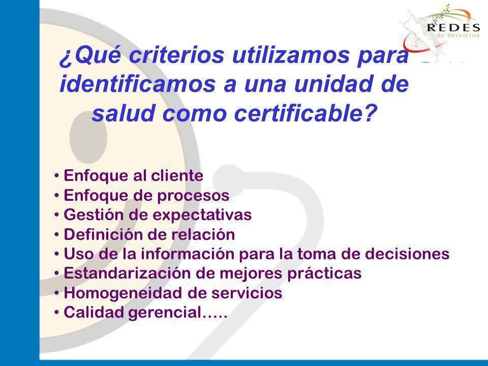 jantoniomar@hsoo.com ¿Qué criterios utilizamos para identificamos a una unidad de salud como certificable? Enfoque al cliente Enfoque de procesos Gest