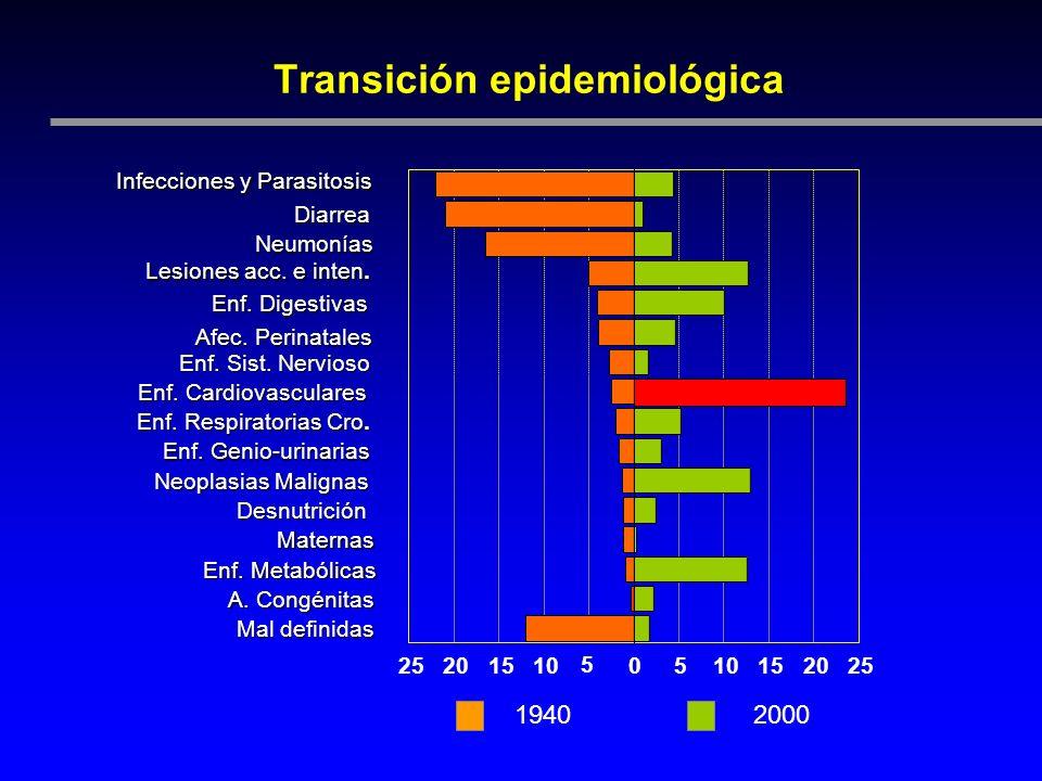 Transición epidemiológica Infecciones y Parasitosis Diarrea Neumonías Lesiones acc. e inten. Enf. Digestivas Afec. Perinatales Enf. Sist. Nervioso Enf