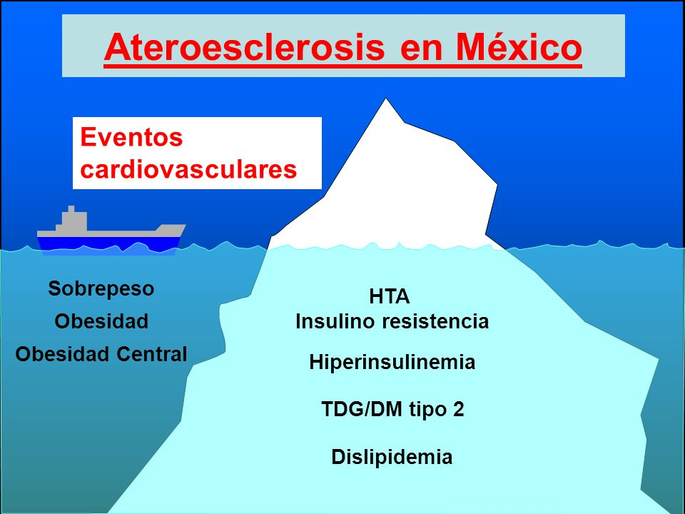 Ateroesclerosis en México Sobrepeso Obesidad Obesidad Central HTA Insulino resistencia Hiperinsulinemia TDG/DM tipo 2 Dislipidemia Eventos cardiovascu