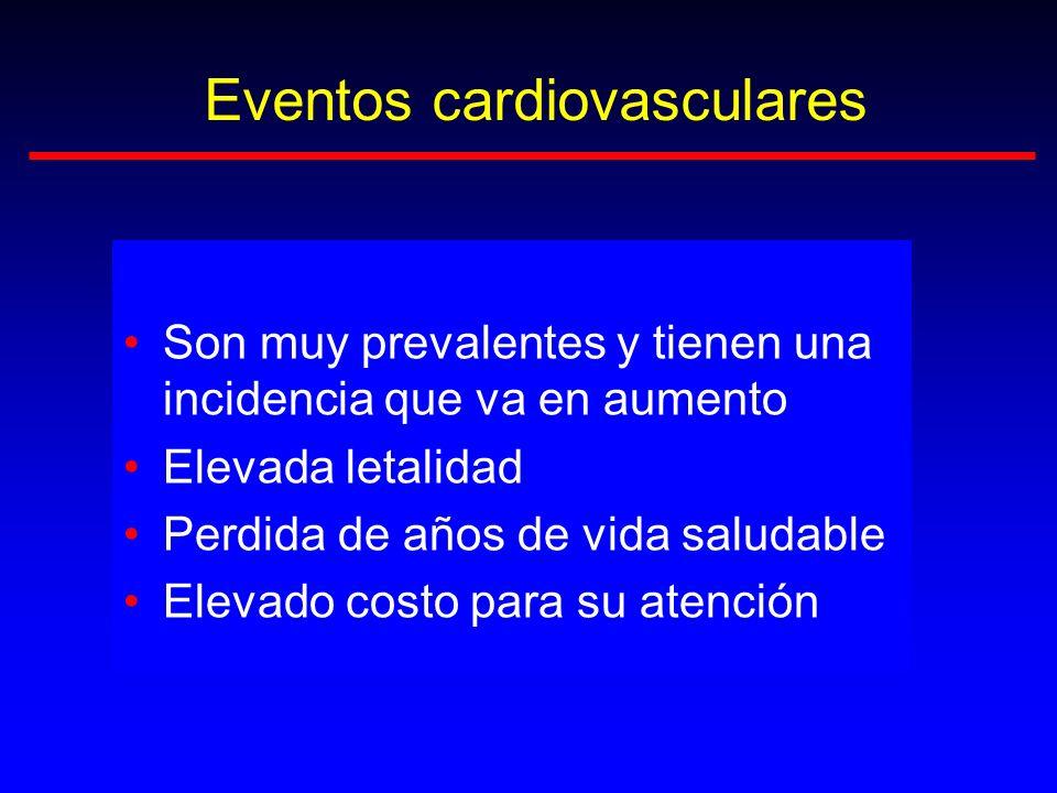 Eventos cardiovasculares Son muy prevalentes y tienen una incidencia que va en aumento Elevada letalidad Perdida de años de vida saludable Elevado cos