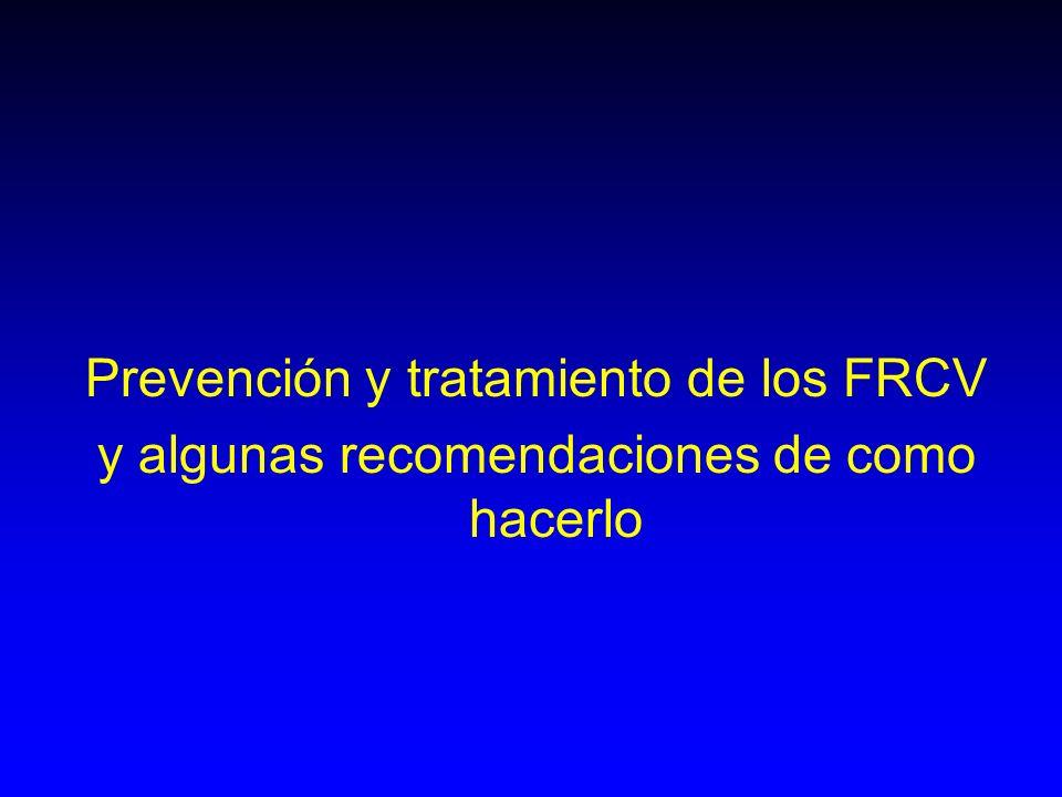 Prevención y tratamiento de los FRCV y algunas recomendaciones de como hacerlo