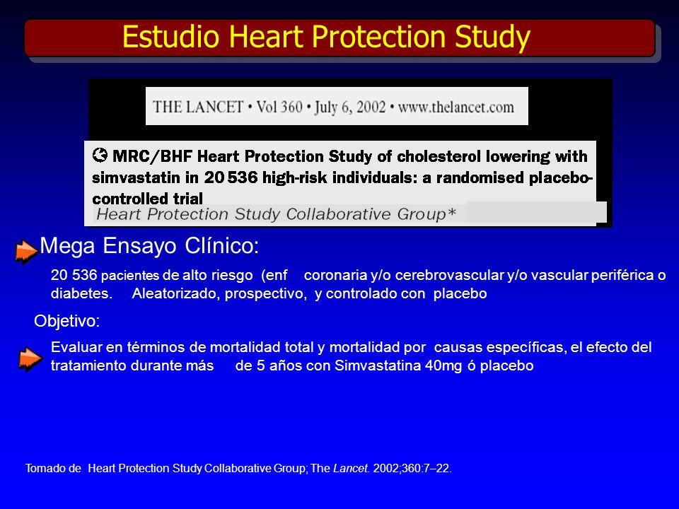 Mega Ensayo Clínico: 20 536 pacientes de alto riesgo (enf coronaria y/o cerebrovascular y/o vascular periférica o diabetes. Aleatorizado, prospectivo,