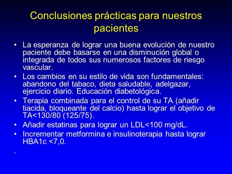 Conclusiones prácticas para nuestros pacientes La esperanza de lograr una buena evolución de nuestro paciente debe basarse en una disminución global o