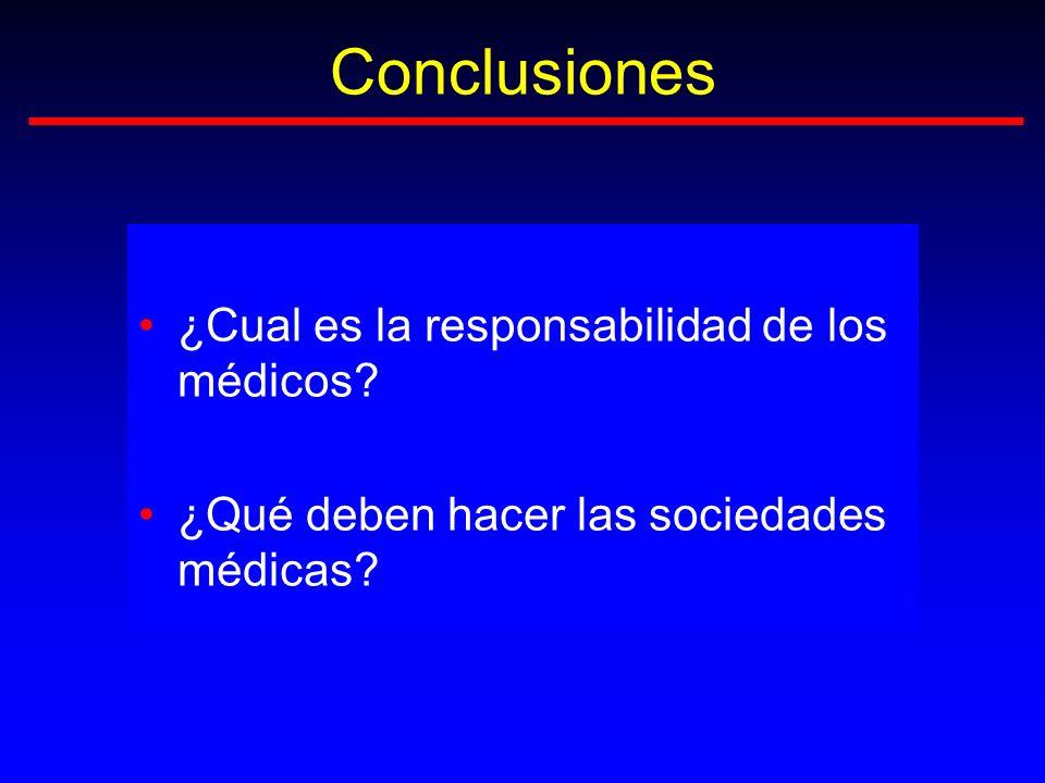 Conclusiones ¿Cual es la responsabilidad de los médicos? ¿Qué deben hacer las sociedades médicas?