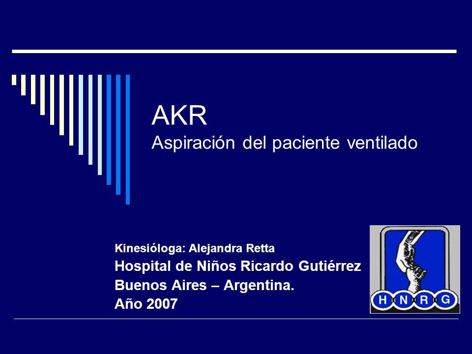 Hospital de Niños Ricardo Gutierrez 2007 Técnica de aspiración Siempre estéril Abierta, cerrada, o con adaptador swivel Cochrane no ha podido demostrar que la aspiración cerrada sea mejor que la abierta para disminuir la NAV Neo : 60 -80 mmHg, Ped: 80-100 mmHg, Adultos: 100 -120 mmHg.