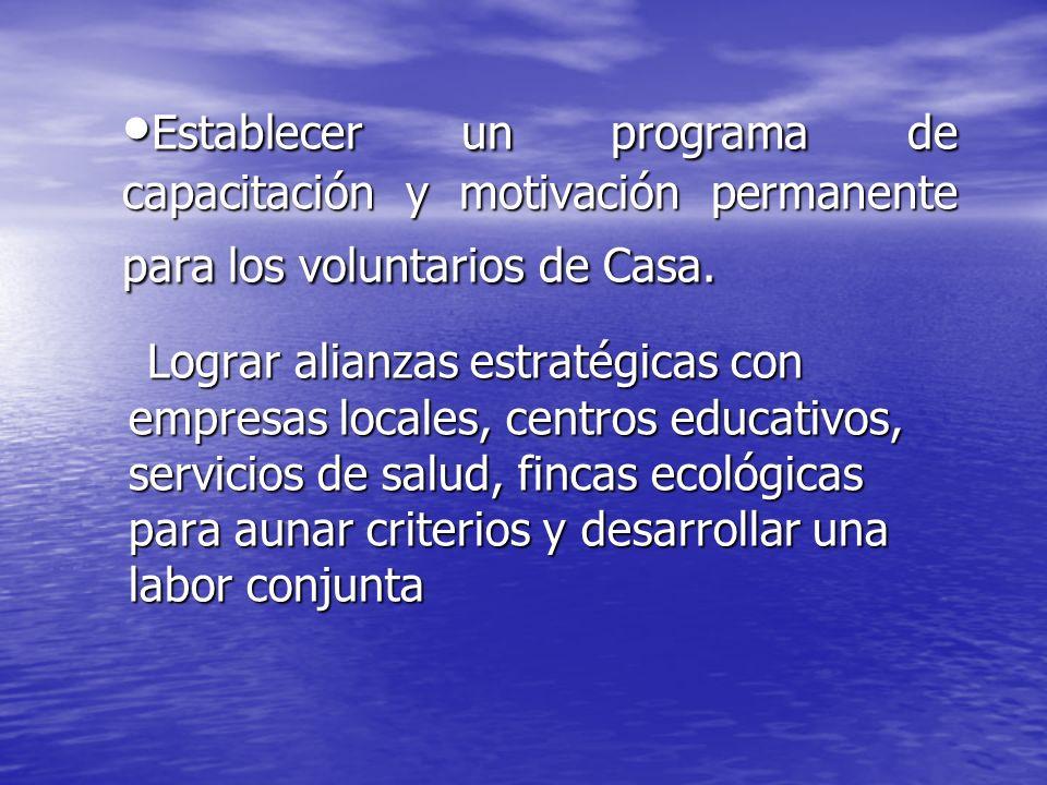 Establecer un programa de capacitación y motivación permanente para los voluntarios de Casa. Establecer un programa de capacitación y motivación perma