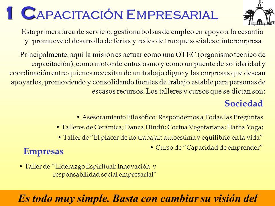 1 C 1 C apacitación Empresarial Esta primera área de servicio, gestiona bolsas de empleo en apoyo a la cesantía y promueve el desarrollo de ferias y r