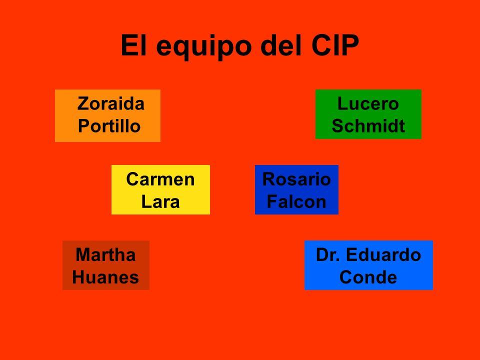 El equipo del CIP Zoraida Portillo Carmen Lara Rosario Falcon Martha Huanes Dr. Eduardo Conde Lucero Schmidt