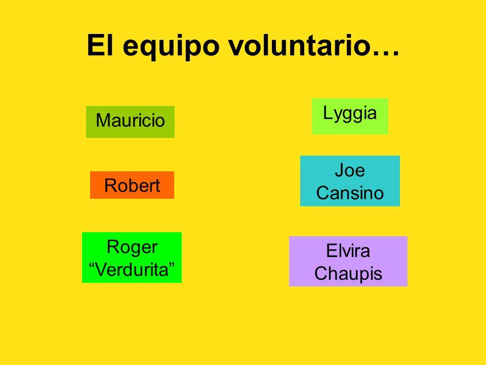 El equipo voluntario… Mauricio Lyggia Robert Joe Cansino Roger Verdurita Elvira Chaupis