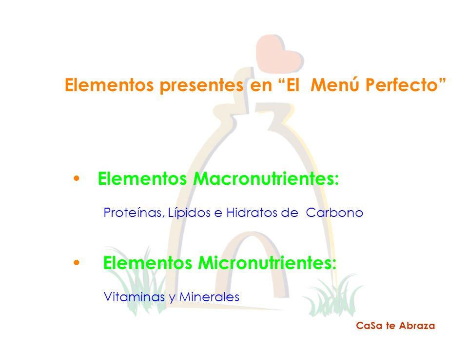 CaSa te Abraza Elementos presentes en El Menú Perfecto Elementos Macronutrientes: Proteínas, Lípidos e Hidratos de Carbono Elementos Micronutrientes: