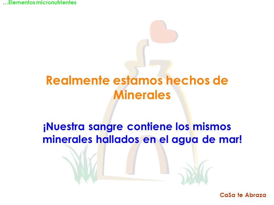 Realmente estamos hechos de Minerales ¡Nuestra sangre contiene los mismos minerales hallados en el agua de mar! …Elementos micronutrientes CaSa te Abr