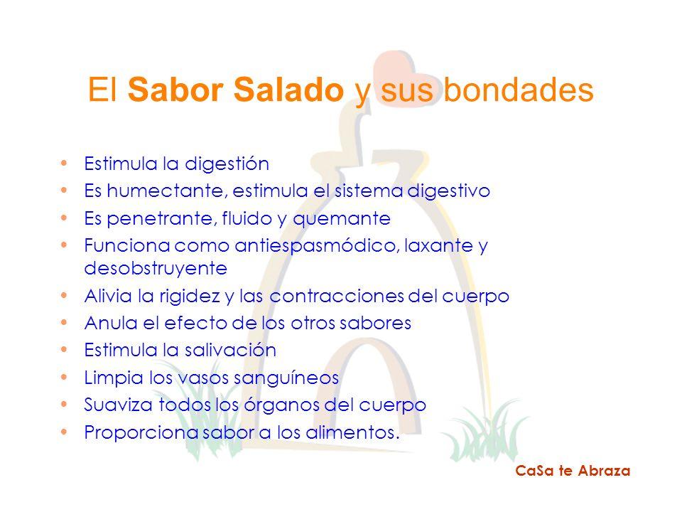El Sabor Salado y sus bondades Estimula la digestión Es humectante, estimula el sistema digestivo Es penetrante, fluido y quemante Funciona como antie