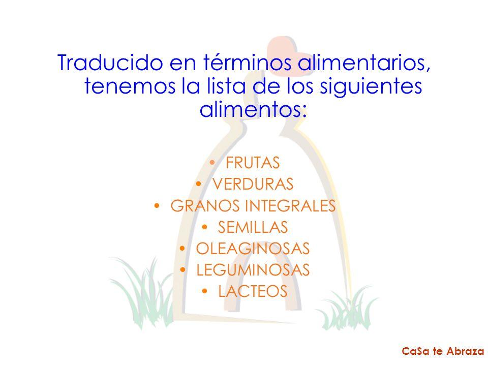 Traducido en términos alimentarios, tenemos la lista de los siguientes alimentos: FRUTAS VERDURAS GRANOS INTEGRALES SEMILLAS OLEAGINOSAS LEGUMINOSAS L