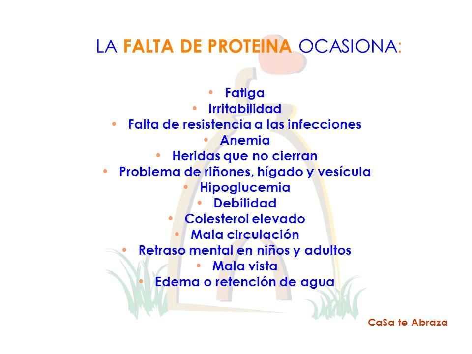 LA FALTA DE PROTEINA OCASIONA: Fatiga Irritabilidad Falta de resistencia a las infecciones Anemia Heridas que no cierran Problema de riñones, hígado y