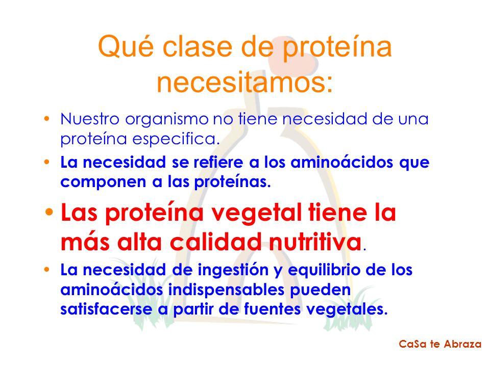 Qué clase de proteína necesitamos: Nuestro organismo no tiene necesidad de una proteína especifica. La necesidad se refiere a los aminoácidos que comp