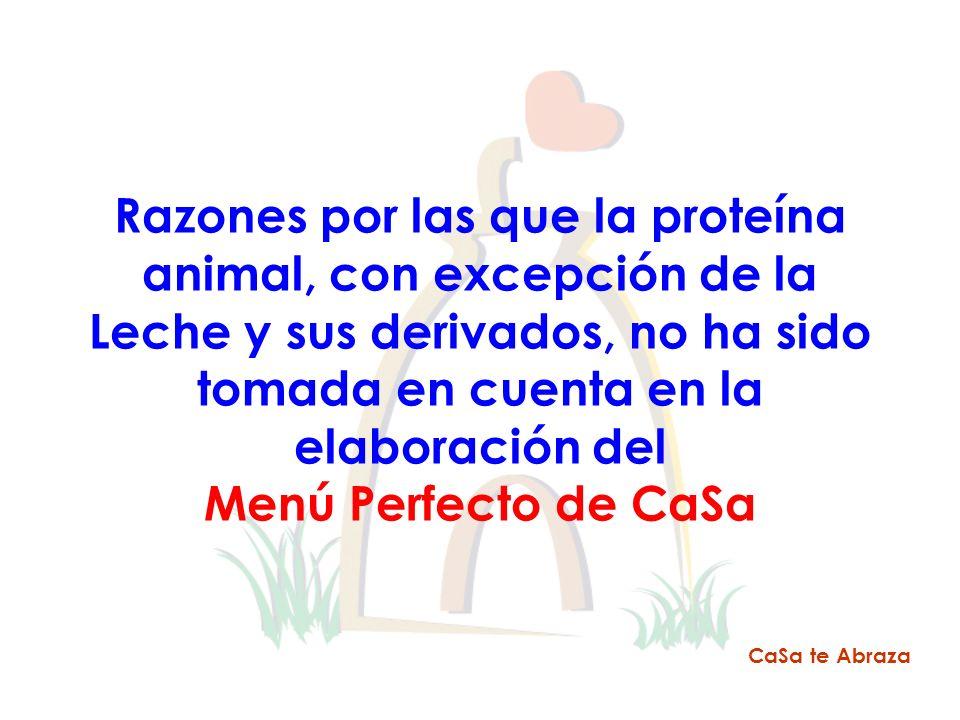 Razones por las que la proteína animal, con excepción de la Leche y sus derivados, no ha sido tomada en cuenta en la elaboración del Menú Perfecto de
