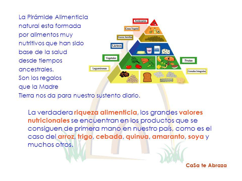 La Pirámide Alimenticia natural esta formada por alimentos muy nutritivos que han sido base de la salud desde tiempos ancestrales. Son los regalos que