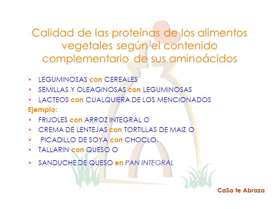 Calidad de las proteínas de los alimentos vegetales según el contenido complementario de sus aminoácidos LEGUMINOSAS con CEREALES SEMILLAS Y OLEAGINOS