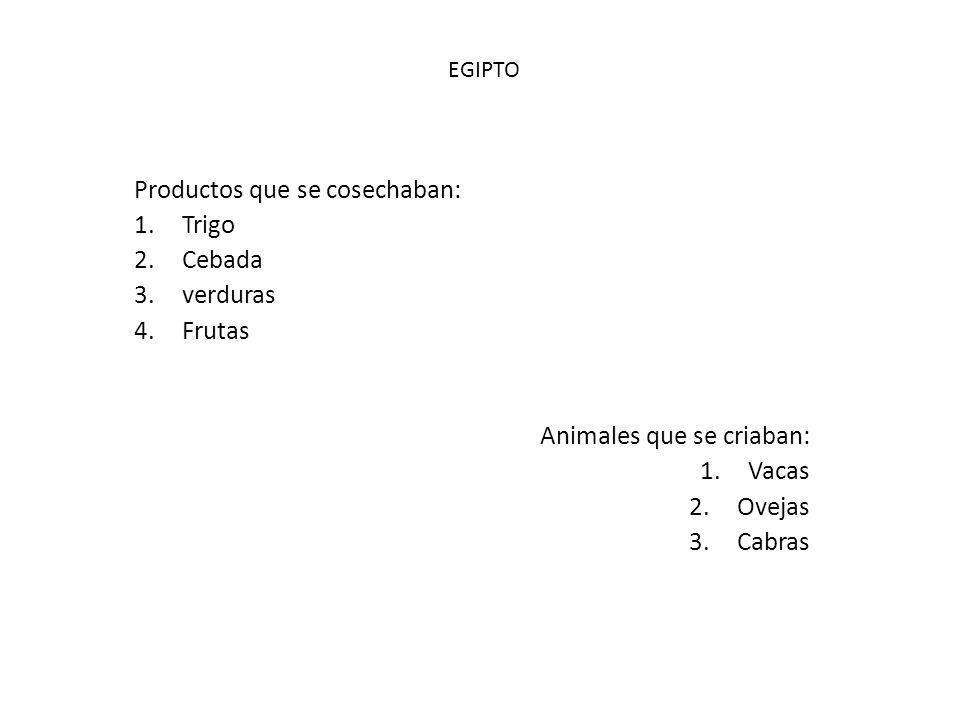 Productos que se cosechaban: 1.Trigo 2.Cebada 3.verduras 4.Frutas Animales que se criaban: 1.Vacas 2.Ovejas 3.Cabras EGIPTO