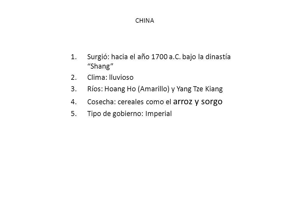 1.Surgió: hacia el año 1700 a.C. bajo la dinastía Shang 2.Clima: lluvioso 3.Ríos: Hoang Ho (Amarillo) y Yang Tze Kiang 4.Cosecha: cereales como el arr